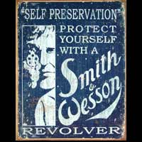 PROTECTION ARMES A FEU SMITH & WESSON PLAQUE PUBLICITAIRE VIEILLIE VINTAGE