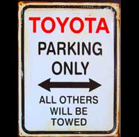 TOYOTA PARKING ONLY ROAD SIGN Plaque pub métal 30x40 cm HONDA PARKING ONLY