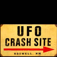 PLAQUE AMERICAINE DECO UFO CRASH SITE ROSWELL PLAQUE METAL USA