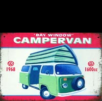 BAY WINDOW CAMPERVAN VW  plaque metal vintage mobil mobilgas mobiloil pegase
