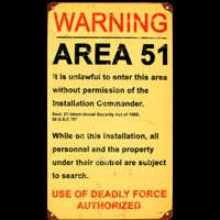 WARNING AREA 51 PLAQUE METAL OVNI UFO
