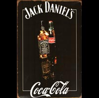 PLAQUE METAL COCA JACK DANIELS BILLARD