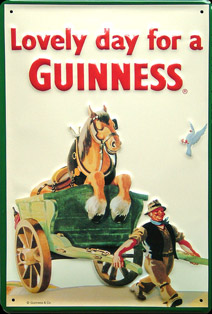 BIERE GUINESS LOVELY DAY FOR A GUINNESS Plaque publicitaire relief métal 20x30 cm LOGO GUINNESS Plaque publicitaire relief GUINESS BIERE