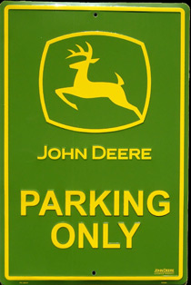 JOHN DEERE PARKING ONLY ROAD SIGN Plaque pub métal 30x45 cm JOHN DEERE TRACTEUR
