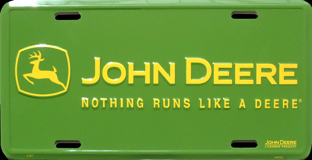 john deere nothing runs plaque d 39 immatriculation m tal 30x15 cm. Black Bedroom Furniture Sets. Home Design Ideas