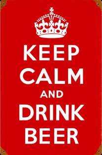 KEEP CALM AND DRINK BEER PLAQUE EMAILLEE