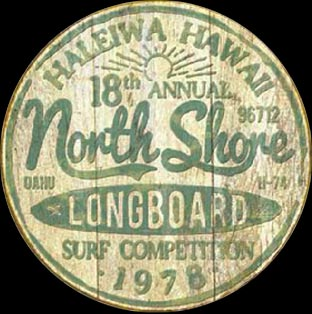 NORTH SHORE LONGBOARD SURF COMPETITION - Plaque publicitaire métal RONDE 30 CM