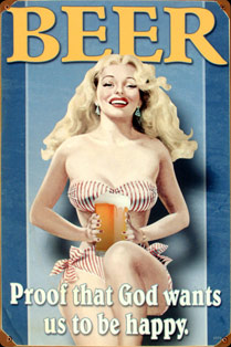 PIN UP BLONDE BEER Plaque métal vintage USED