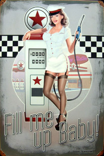 PIN-UP ESSENCE FIFTIES- Plaque pub métal 29,5x45 cm Plaque métal vintage