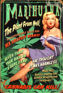 PIN UP MARIHUANA CANNABIS PLAQUE METAL DECO