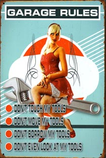 plaque metal pinup garage rules outils mecano
