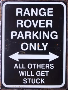 RANGE PARKING ONLY ROAD SIGN Plaque pub métal 30x40 cm JAGUAR PARKING ONLY