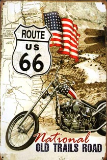 DRIVE ROUTE 66 PLAQUE METAL ROUTE 66 PIN UP PINUP