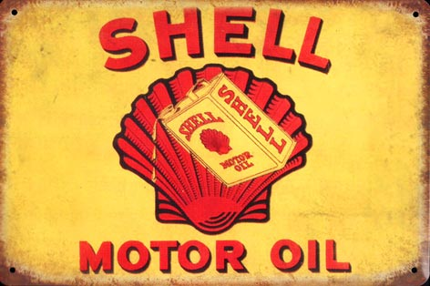 PLAQUE METAL EMAILLEE SHELL MOTOR OIL HUILE COQUILEE