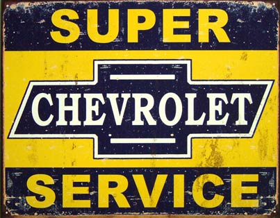 CHEVROLET SUPER SERVICE PLAQUE METAL STYLE VINTAGE