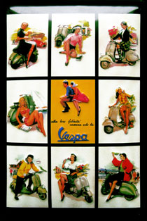 VESPA PIN UP BELLA REGAZZA SCOOTER MOTO ITALIE DOLCE VITA Plaque publicitaire relief métal 20x30 cm