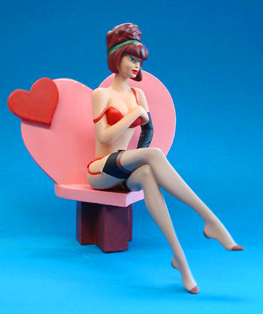 figurine résine pin up coeur amour